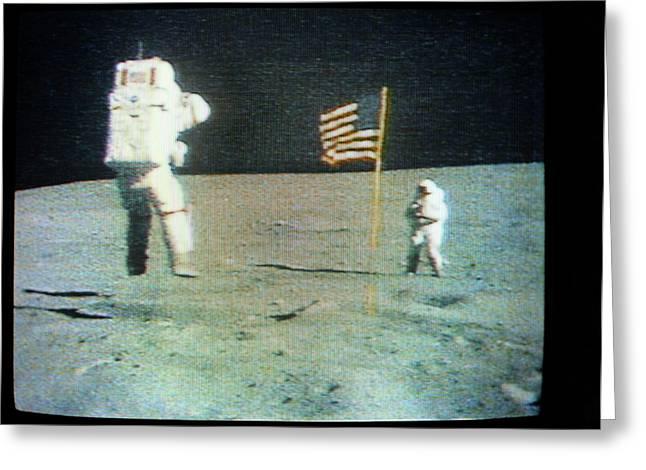 Apollo 16 Moon Walk Greeting Card by Nasa