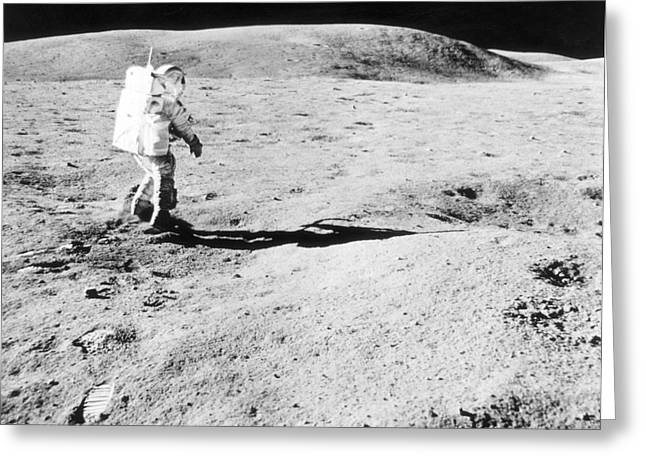 Us History Greeting Cards - Apollo 16 Moon Walk Greeting Card by Science Source