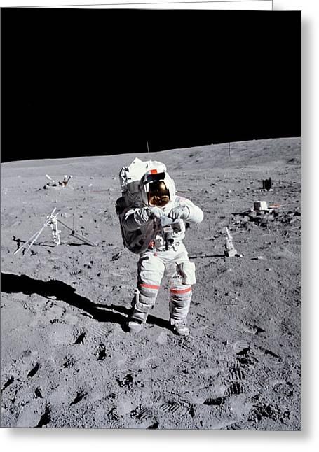 Apollo 16 Moowalk Greeting Card by Nasa