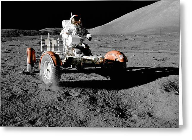 Roving Greeting Cards - Apollo 17 Lunar Roving Vehicle Greeting Card by Nasa