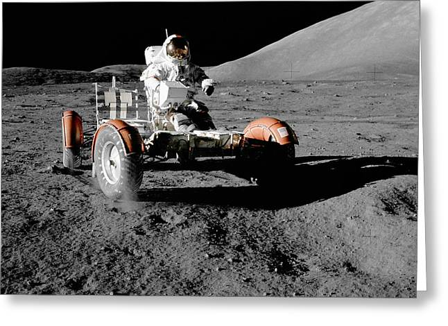 Glister Greeting Cards - Apollo 17s lunar roving vehicle Greeting Card by Celestial Images