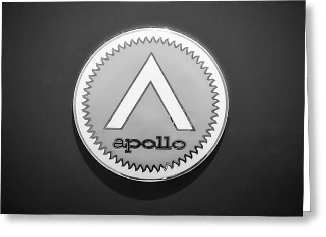 Apollo Greeting Cards - Apollo 5000 GT Emblem -0304bw Greeting Card by Jill Reger