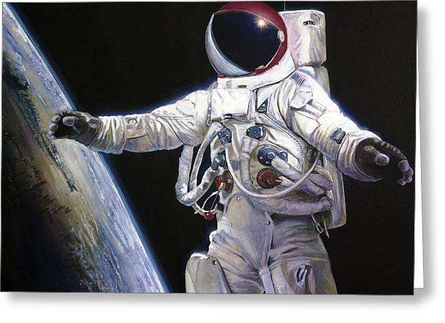 Nasa Greeting Cards - Apollo 9 - Schweickart on the Porch Greeting Card by Simon Kregar
