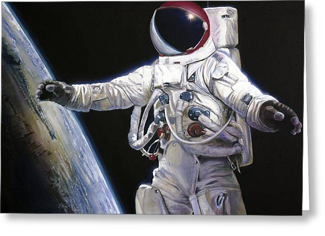 Apollo 9 - Schweickart On The Porch Greeting Card by Simon Kregar