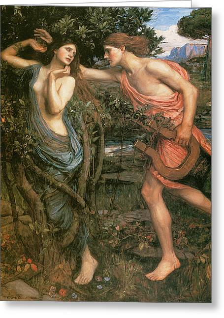 Greek Myths Greeting Cards - Apollo and Daphne Greeting Card by John William Waterhouse