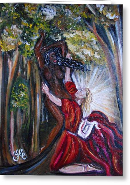 Interracial Love Greeting Cards - Apollo and Daphne Greeting Card by Yesi Casanova