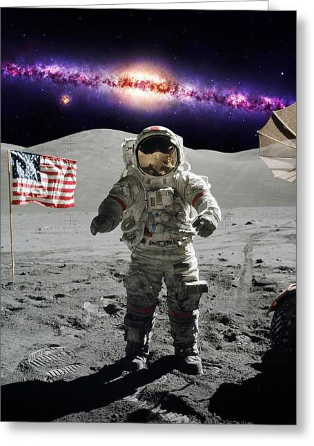 Interstellar Space Greeting Cards - Apollo Astronaut on the lunar surface Greeting Card by Celestial Images