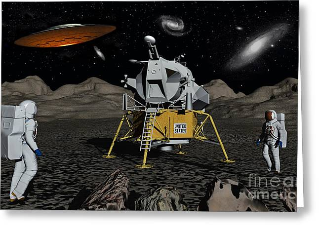 Moonwalk Digital Greeting Cards - Apollo Astronauts Coming Into Contact Greeting Card by Mark Stevenson