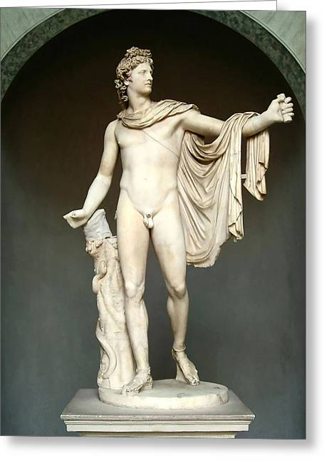 Marble Stone Greeting Cards - Apollo Belvedere Greeting Card by Ellen Henneke