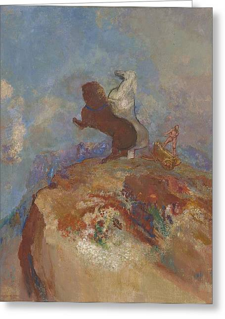 Chariot Greeting Cards - Apollo, C.1905-10 Greeting Card by Odilon Redon
