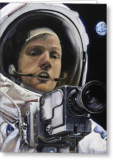 Neil Armstrong Greeting Cards - Apollo- For Mankind Greeting Card by Simon Kregar