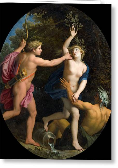 Rene Greeting Cards - Apollo pursuing Daphne Greeting Card by Rene-Antoine Houasse