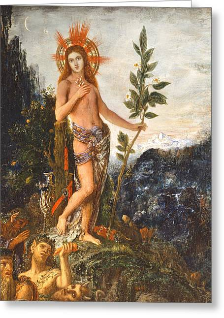 Olive Greeting Cards - Apollo Receiving the Shepherds Offerings Greeting Card by Gustave Moreau