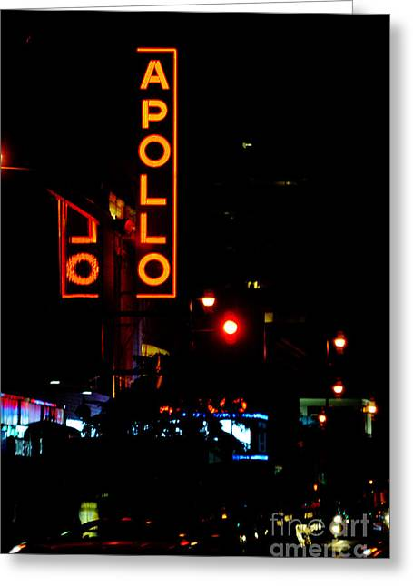 Gotham City Digital Art Greeting Cards - Apollo Theatre Neon Sign Greeting Card by AdSpice Studios