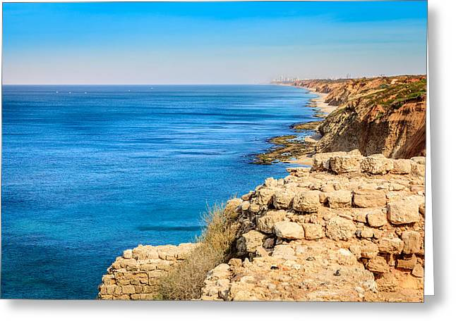 Old Rock Buildings Greeting Cards - Apollonia in Israel Greeting Card by Alexey Stiop