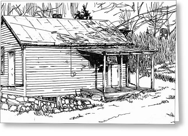 Pen And Ink Rural Drawings Greeting Cards - Apostolic Christian Alliance Church Greeting Card by Jim Harris
