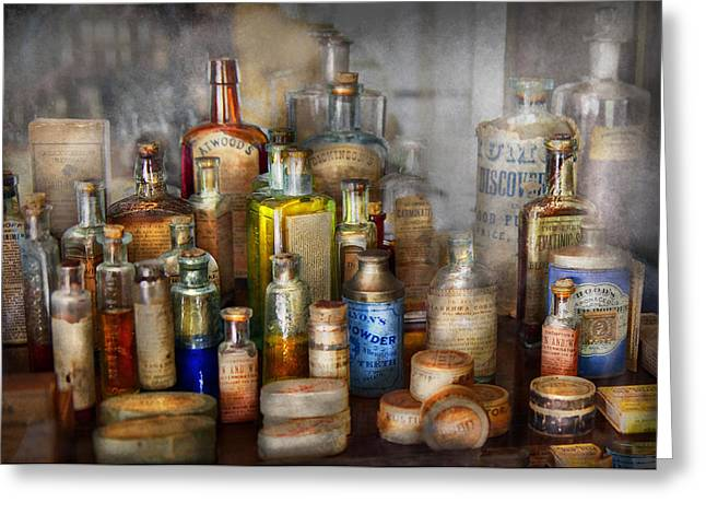 Suburbanscenes Greeting Cards - Apothecary - For all your Aches and Pains  Greeting Card by Mike Savad