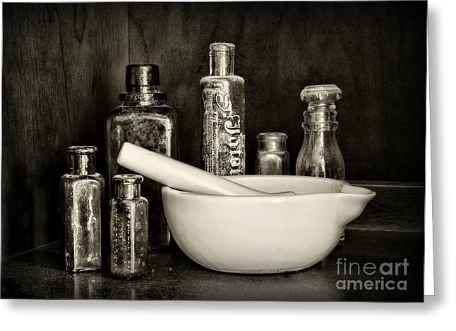 Md Greeting Cards - Apothecary in Black and White Greeting Card by Paul Ward