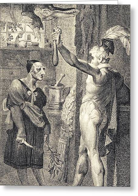 Human Tragedy Greeting Cards - Apothecary in Romeo and Juliet, 1805 Greeting Card by Science Photo Library