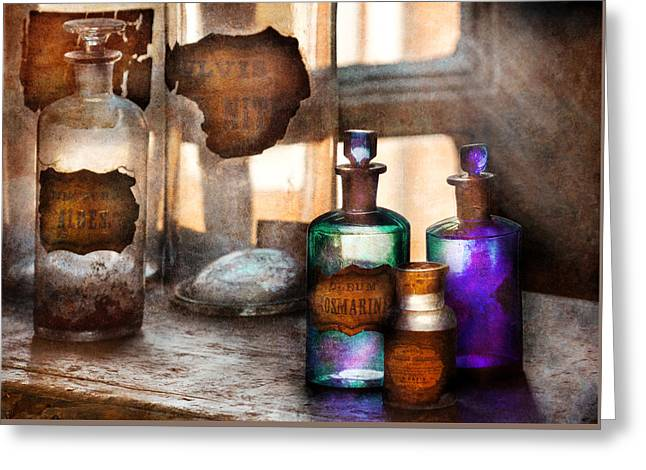 Md Greeting Cards - Apothecary - Oleum Rosmarini  Greeting Card by Mike Savad