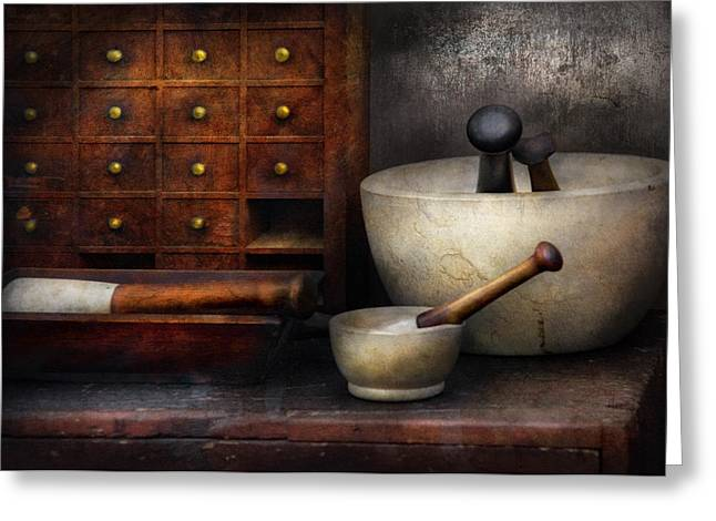 Suburban Greeting Cards - Apothecary - Pestle and Drawers Greeting Card by Mike Savad