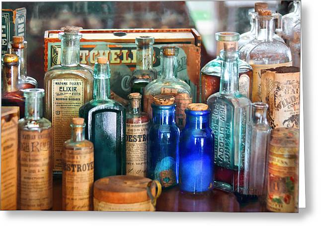 Suburbanscenes Greeting Cards - Apothecary - Remedies for the Fits Greeting Card by Mike Savad