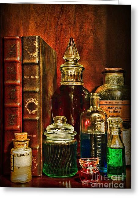 Old Grinders Greeting Cards - Apothecary - Vintage Jars and Potions Greeting Card by Paul Ward