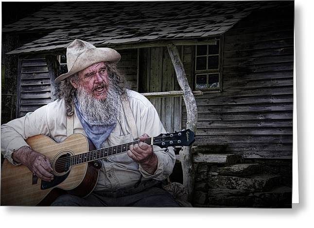 Music Time Greeting Cards - Appalachia Finger Picking Guitar Greeting Card by Randall Nyhof
