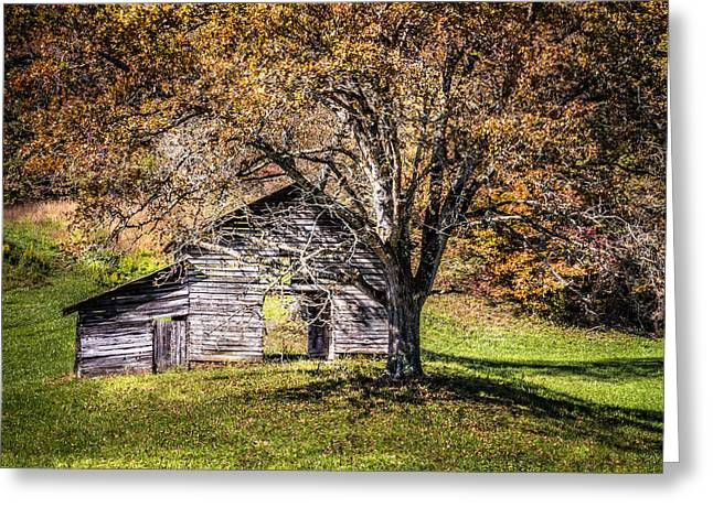 Fall In Georgia Greeting Cards - Appalachian Autumn Barn Greeting Card by Debra and Dave Vanderlaan