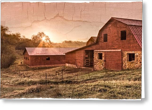 Fenceline Greeting Cards - Appalachian Barns Greeting Card by Debra and Dave Vanderlaan