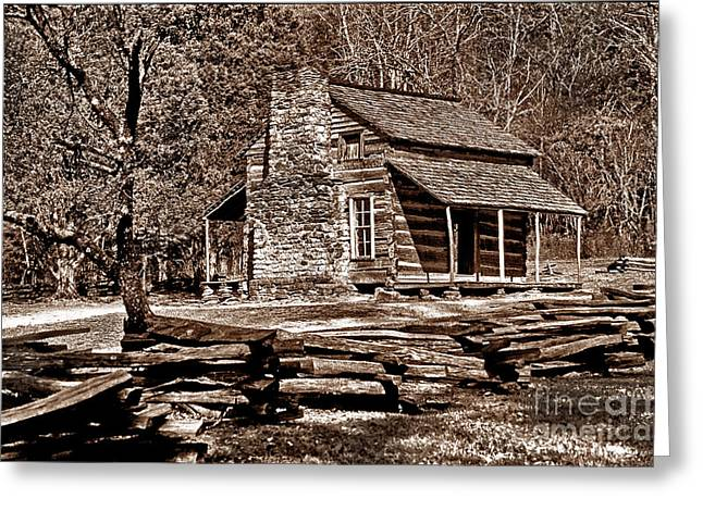 Log Cabins Greeting Cards - Appalachian Cabin - Toned Greeting Card by Paul W Faust -  Impressions of Light