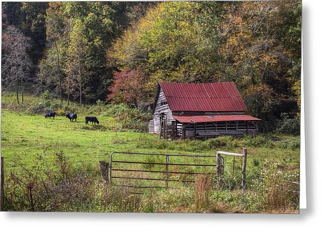 Appalachian Farm Barn Greeting Card by Debra and Dave Vanderlaan