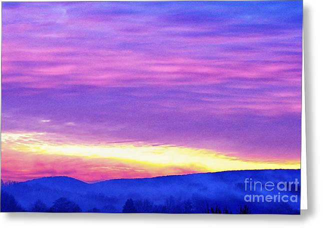 Colorful Cloud Formations Digital Greeting Cards - Appalachian January Sunrise Greeting Card by Thomas R Fletcher