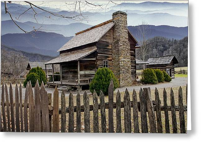 Log Cabin Art Greeting Cards - Appalachian Mountain Cabin Greeting Card by Randall Nyhof