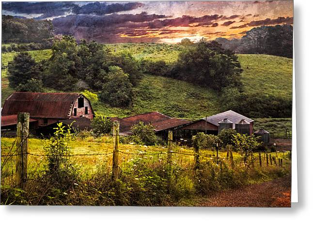 Appalachian Mountain Farm Greeting Card by Debra and Dave Vanderlaan