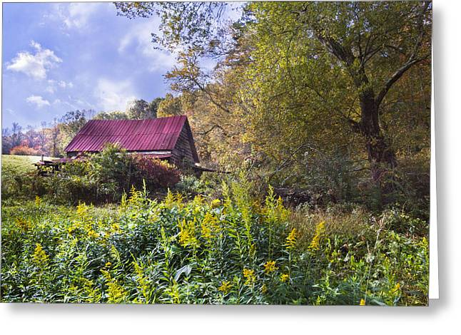 Autumn In The Country Greeting Cards - Appalachian Red Roof Barn Greeting Card by Debra and Dave Vanderlaan