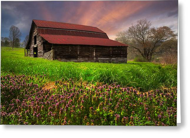 Tennessee Barn Greeting Cards - Appalachian Spring Greeting Card by Debra and Dave Vanderlaan