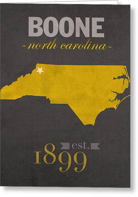 North Carolina Mixed Media Greeting Cards - Appalachian State University Mountaineers Boone NC College Town State Map Poster Series No 010 Greeting Card by Design Turnpike
