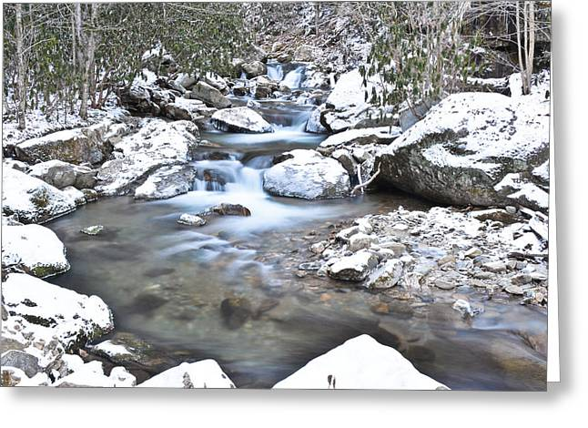 Franklin Tennessee Greeting Cards - Appalachian Stream Snow Greeting Card by Ryan Phillips