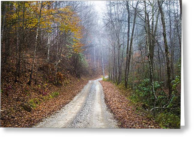 Etheral Greeting Cards - Appalachian Trail into the Fog Greeting Card by Debra and Dave Vanderlaan