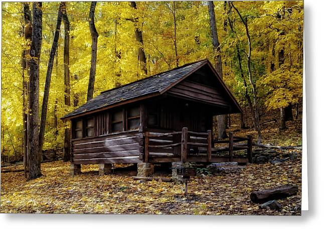 Fallen Leaf Greeting Cards - Appalachian Trail Shelter Cabin Greeting Card by Mountain Dreams