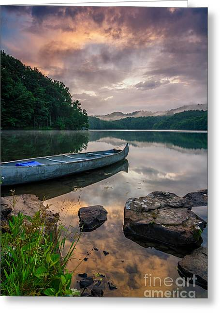 Canoe Greeting Cards - Appalachian waters Greeting Card by Anthony Heflin