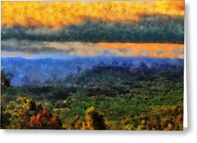 National Mixed Media Greeting Cards - Appalachian Sunrise Greeting Card by Dan Sproul