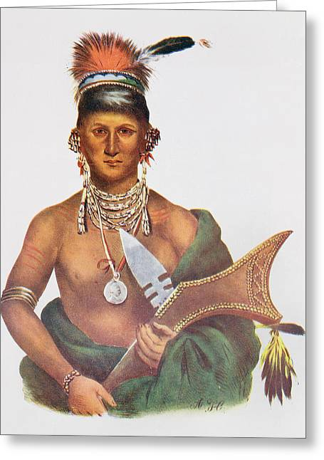 Earrings Photographs Greeting Cards - Appanoose, A Sauk Chief, 1837, Illustration From The Indian Tribes Of North America, Vol.2 Greeting Card by George Cooke