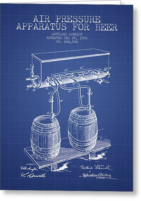 Tap Greeting Cards - Apparatus for Beer Patent from 1900 - Blueprint Greeting Card by Aged Pixel