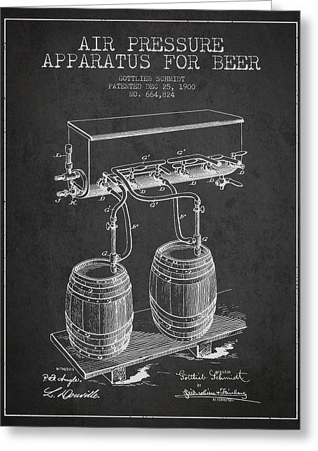 Apparatus For Beer Patent From 1900 - Dark Greeting Card by Aged Pixel