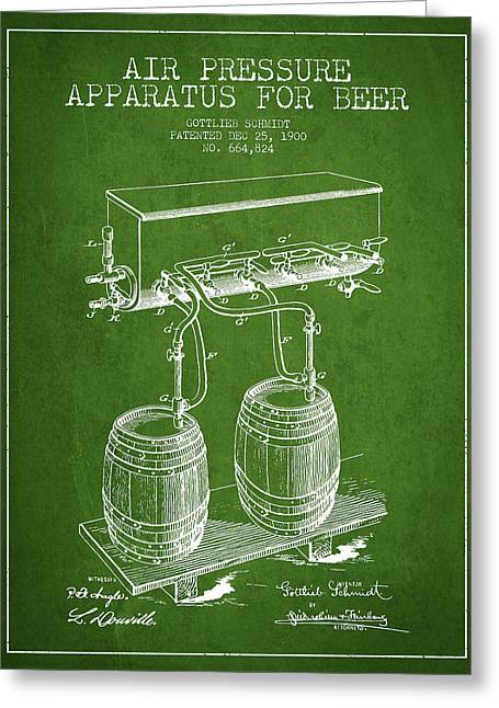 Tap Greeting Cards - Apparatus for Beer Patent from 1900 - Green Greeting Card by Aged Pixel