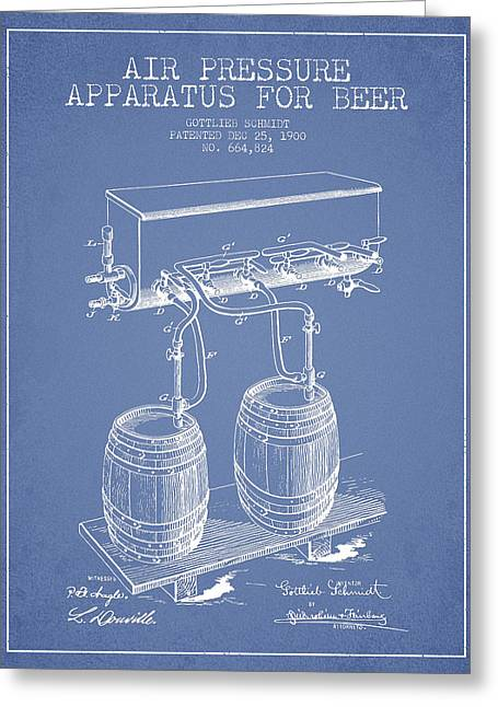 Tap Greeting Cards - Apparatus for Beer Patent from 1900 - Light Blue Greeting Card by Aged Pixel