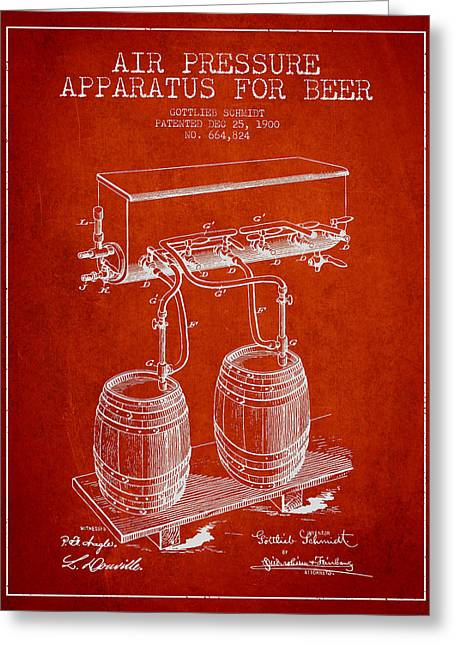 Tap Greeting Cards - Apparatus for Beer Patent from 1900 - Red Greeting Card by Aged Pixel