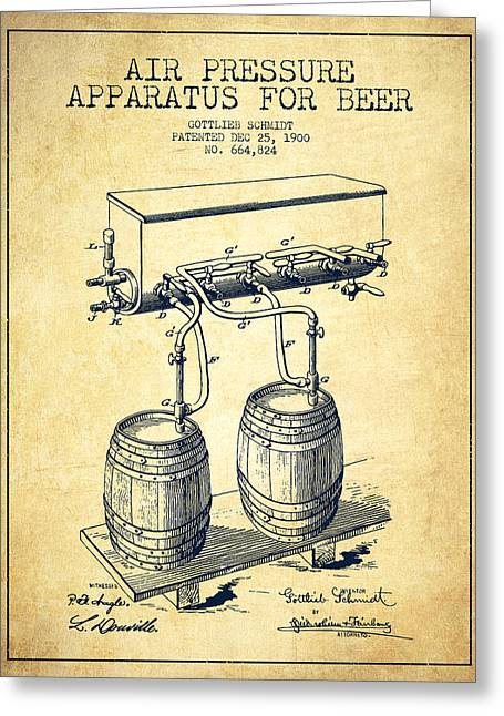 Technical Greeting Cards - Apparatus for Beer Patent from 1900 - Vintage Greeting Card by Aged Pixel